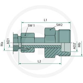 S-L X-KOVV 10 L 12 S DKO Hydraulik X-KOVV Gerade Verschraubung L-S